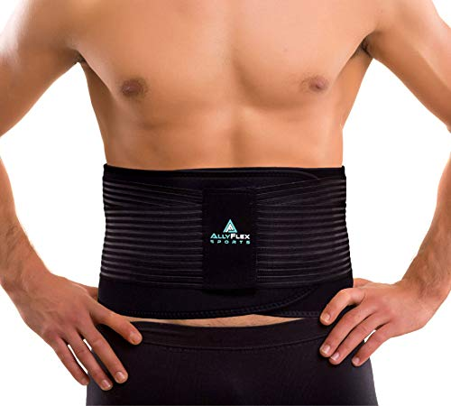 AllyFlex Extra Large Plus Size Back Brace with Medical Grade 3D Lumbar Support Stays for Lower Back Pain Relief - Adjustable Straps Breathable Cool Comfortable Fit (XL/XXL)