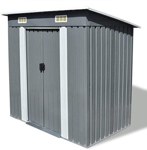 Garden Galvanized Steel Outdoor Storage Shed Heavy Duty Tool House with Sliding Door for Garden Lawn Equipment Pool Supplies Organizer,74.8 x 48.8 x 71.3 inches