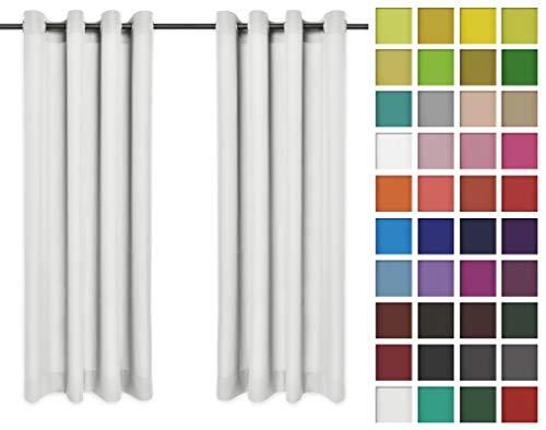 Rollmayer Vorhänge Schal mit Ösen Kollektion Vivid (Ecru 2, 135x215 cm - BxH) Blickdicht Uni einfarbig Gardinen Schal für Schlafzimmer Kinderzimmer Wohnzimmer
