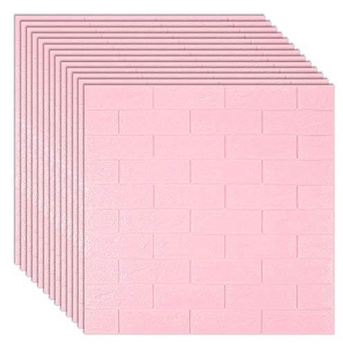 Papel tapiz de pared de ladrillo 3D, 70 × 77 cm rosa,...