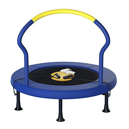 JTING Plegable Mini Bounce Trampolín Adultos y Niños Silencioso Aparato para Ejercicio Salto, 1 m / 1,2 m * 95 cm (40' Amarillo | 48' Azul; Pies en Espiral | Pies Plegables)
