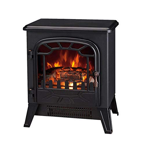 Lincsfire 1850W Modern Freestanding Portable Electric Fireplace Fire Indoor Heater Log Burning Flame Effect Stove Black