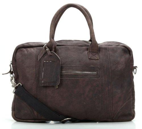Cowboysbag Bag Stettler Unisex Business Ledertasche aus gewachstem Rindsleder (43x30x10 cm), Farben: Dunkelbraun (Midnight)