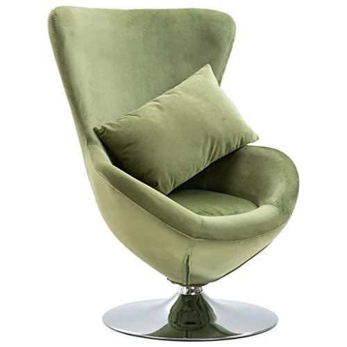 vidaXL Sillón Egg Giratorio Tapizado Terciopelo Cojín Diseño Clásico Forma Huevo Réplica Arne Jacobsen Base Redonda Cromada Asiento Acolchado Verde