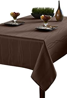 Benson Mills Gourmet Spillproof Fabric Tablecloth, Chocolate, 60-inch by 84-inch