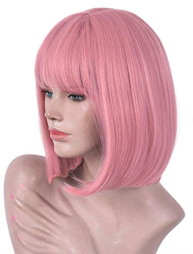 Rose Pink Short Bob Wig With Bangs For Women Short Straight Women's Costume Pink Heat Resistant Halloween Party Christmas Cosplay Wigs (Rose Pink)