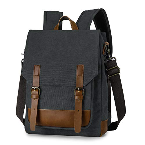 TAK Zaino Casual in Tela Borsa Tracolla Zaino Vintaje Zaino 2 in 1 Multifunzione backpack Zaino Uomo Donna Zaino Con Scomparto per Laptop per Scuola Lavoro Viaggio Nero