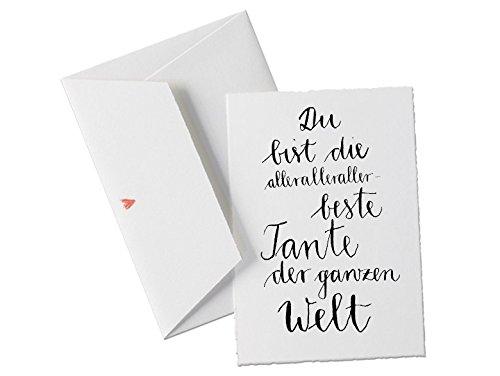 Du bist die allerbeste TANTE der Welt, Spruch Glückwunschkarte Postkarte für die Lieblingstante, Patentante, Nenntante, Geburtstagskarte oder Dankeschön Grußkarte, klassisch mit Herz-Umschlag