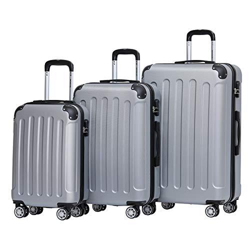 BEIBYE Hartschalen-Koffer Trolley Rollkoffer Reisekoffer Handgepäck 4 Rollen (M-L-XL-Set) (Silber,...