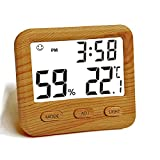Digital Hygrometer Indoor Thermometer, Temperature Humidity Gauge with Desk Clocks for Bedroom and Office,Backlit Accurate Monitor Clear Reading, Time Display for Home Greenhouse Wooden