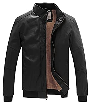 WenVen Men s Casual Stand Collar Slim PU Bomber Faux Leather Jacket Black L