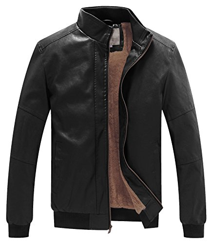 WenVen Men's Casual Stand Collar Slim PU Bomber Faux Leather Jacket Black L