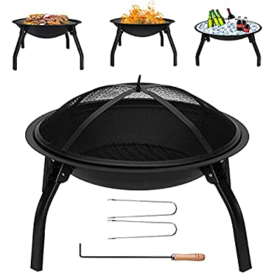 Outdoor Fire Pit Fire Bowl Large, Folding Fire Pit for Garden Dia:55cm, Portable Fire Pit Patio Heater with Mesh Cover & Poker ?for Camping Bonfire BBQ Heating from Qweidown