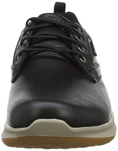 Skechers Delson-Antigo, Zapatos de Cordones Oxford Hombre, Negro (BLK Black Leather), 43 EU