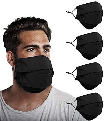 YUESUO Beard Face Mask Black Adult Men Cloth Designer Reusable, Lanyard Strap Big Oversized Size, Breathable Washable Fashion Fabric Madks Mouth Nose, Cubre BocasTapa paraMascarillas Tela Diseño