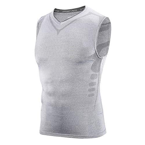AMZSPORT Herren Kompression Tank Top Ärmelloses Shirt Funktionsshirt Baselayer Unterhemd - Grau M