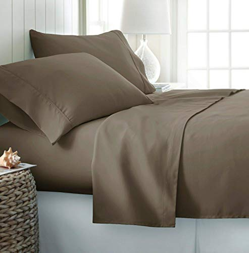 """Genuine 550 Thread Count Pima Cotton 4-Pieces Sheet Set Easily Fit Up to 15-20"""" Deep Pocket Queen, Taupe Solid"""