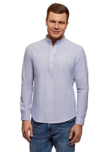 oodji Ultra Uomo Camicia in Lino con Colletto alla Coreana, Blu, 56-58