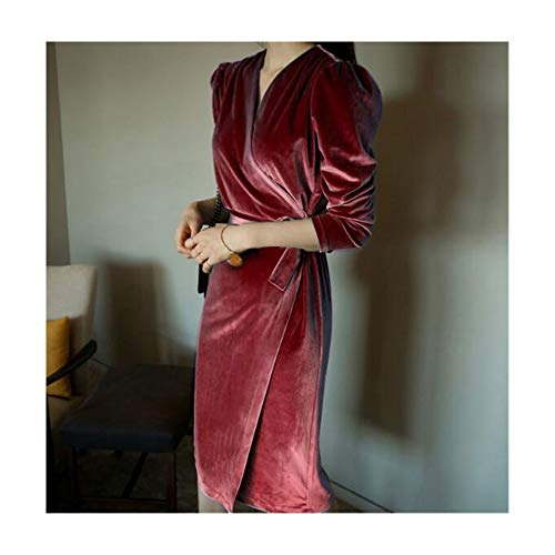 Bademode Frühling und Herbst Lange, langärmelige, schlanke Krawatte mit schmalem Rock Gold Samtkleid Bikinis (Farbe : Claret, Size : XL)