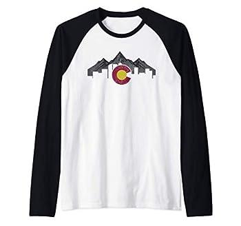 Colorado Mountains Flag Denver Skyline Souvenir Gift Raglan Baseball Tee