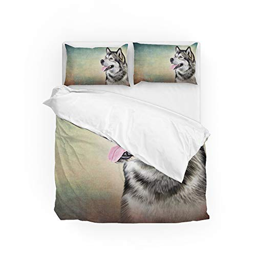 MyDaily Alaskan Malamute Hunde-Bettbezug-Set, 3-teilig, Mikrofaser, Kissenbezüge, Steppdecke, Bettwäsche-Set für King-Size-Bett