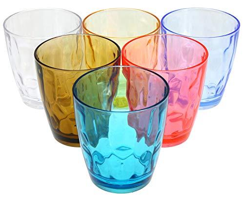 Lawei Set di 6 Bicchieri Colorati Acqua Plastica Infrangibile Resistenti Impilabili - diversi colori, 400 ml
