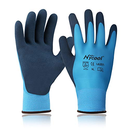 DS Safety L6201 Waterproof Work Gloves 15 Gauge Hycool Grip Men's Working Gloves Double Coated Nylon Gloves with Comfortable Latex Foam for Multipurpose Use 1 Pair(M)