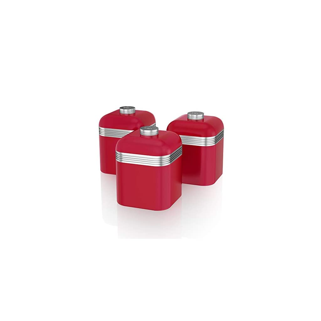 Swan Retro Kitchen Storage Canisters - Red - Set of 3