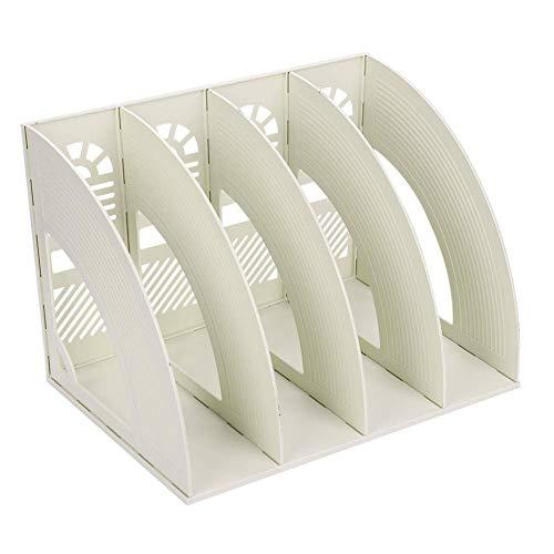 Sayeec Schreibtisch-Organizer, Zeitschriften-Halter, für Dokumente, stabil, aus Kunststoff, 4 Fächer, Magazin-Halter, Schrank, zur Aufbewahrung und Präsentation, Organizer-Box, Beige