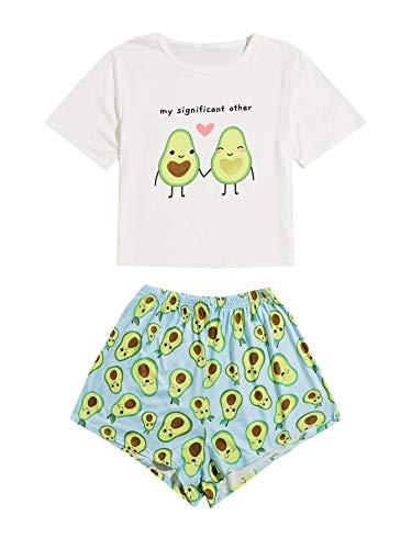 DIDK Conjunto de pijama de dos piezas para mujer, diseño de dibujos animados Aguacate Azul Claro-1 M
