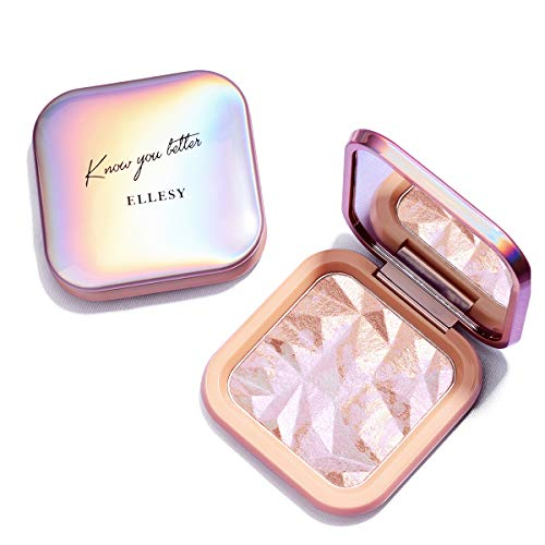 ELLESY Highlighter Makeup Palette Waterproof & Long Lasting Highlighter Palette Shimmer Highlight Powder Suit All Skin Tones-4 Colors