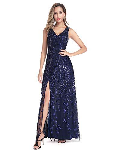 Ever-Pretty Abertura Vestido de Noche Largo para Mujer Lentejuela Cuello en V Ceremonia Eventos Azul Marino 38