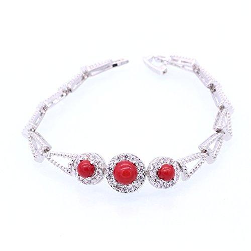 OYHBV Charm Oro Bianco Colore Rosso Corallo e AAA zirconi Braccialetti bracciali per Le Donne monili della Festa Nuziale