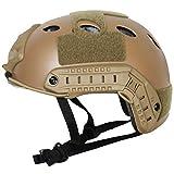 COZYJIA Casco táctico, Estilo Militar del ejército PJ Tipo SWAT Combate Casco rápido con Gafas Montura NVG y riel Lateral para CQB Tiro Airsoft Paintball (Desierto)