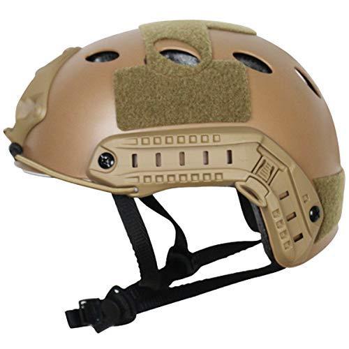 COZYJIA Taktischer Helm, Armee-Militärart PJ-Art SWAT-Kampf-schneller Sturzhelm mit Schutzbrillen NVG-Aufnahme und Seitenschiene für CQB-Schießen Airsoft Paintball (Wüste)