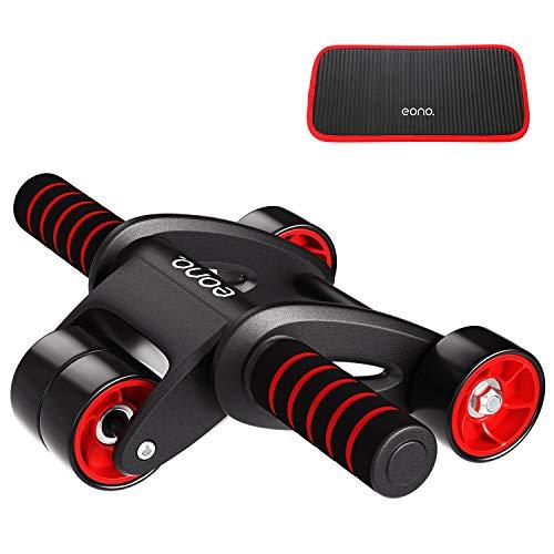 Amazon Brand - Eono - AB Wheel Roller 4 Ruedas para con Alfombrilla Súper Cómoda, Portátil y Estable Máquina Abdominal Equipado con un tapete Grueso para Las Rodillas