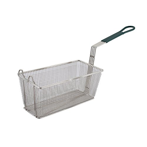 Winco FB-30, 13.25 x 6.5 x 5.9-Inch Nickel Plated Fry Basket with Plastic Green Handle, Deep Fryer Basket
