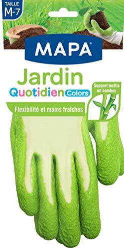 Mapa - Jardin Quotidien Colors - Gants de Jardinage enduction latex et textile bambou - Souples et absorbants - 4 paires - Taille 7/M - Coloris Aléatoire Rose/Vert/Bleu