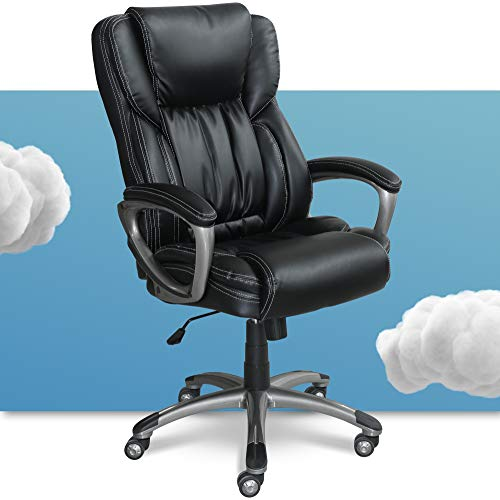 Serta Executive Office Adjustable Ergonomic Computer Chair with Layered Body Pillows, Waterfall Seat Edge, Bonded Leather, Black