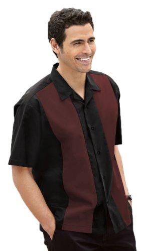 Port Authority Retro Camp Shirt (S300) Black/Burgundy, M