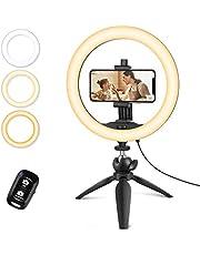 """UBeesize 10"""" Selfie Ring Light con cavalletto e supporto per cellulare, luce circolare LED da tavolo dimmerabile per Live Streaming/Makeup/YouTube/TIK Tok, compatibile con telefoni iOS e Android"""