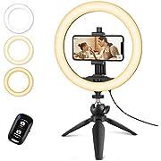 """UBeesize 10"""" Selfie Ring Licht mit Stativ Stand & Handy-Halter, dimmbare Desktop-LED-Kreis Licht für Live-Streaming/Makeup/YouTube, kompatibel mit iOS und Android Phones"""