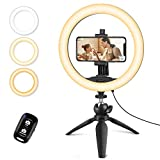 UBeesize 10' Selfie Ring Licht mit Stativ Stand & Handy-Halter, dimmbare Desktop-LED-Kreis...