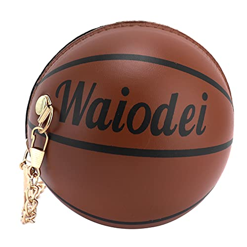 Embrague naranja, duraderos monederos naranja con forma de baloncesto para mujer para ir de compras(marrón)