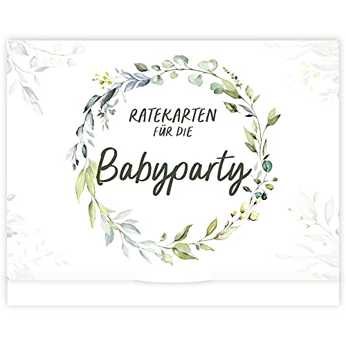 Babyparty Spiele I 25 Babyshower Karten zum Ausfüllen für Babyparty Mädchen und Jungen I Babyshower Spiele Ratespiel inkl. Box I Deko Geschenk Baby Shower Party Spiel (Grün)