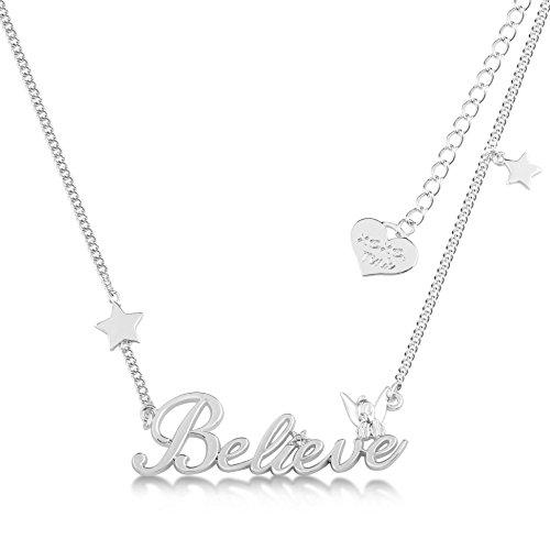 Disney Couture Classic plateado Believe collar de Tinkerbell