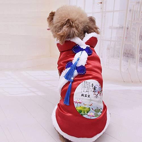 LLKK Ropa de primavera y verano para mascotas estilo chino perro primavera y Summerclothes Tang Suit cálido acolchado abrigo ropa para pequeño año nuevo Chihuahua perro cachorro traje