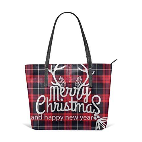 Christmas Buffalo Plaid Fashion Purses And Handbags For Women Satchel Shoulder Tote Bags