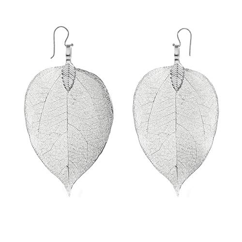 Pendientes hojas naturales bañadas en Plata de Ley
