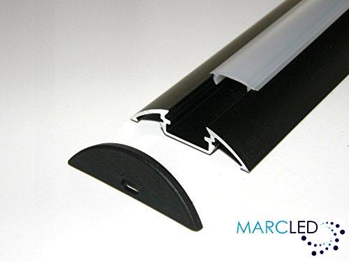 5 x aluminium profiel P4 (geanodiseerd, zwart) voor LED-strips 1 m met transparante afdekking (PMMA) en afdekkap; aluminium Surface Mounted LED Strip Light Profile; geanodiseerd zilver, set met transparante cover (materiaal: PMMA) en twee eindcaps; 1000 mm